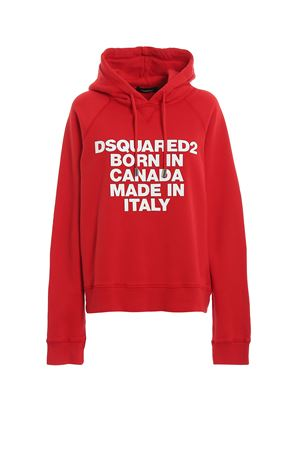 Rubberized print red hoodie