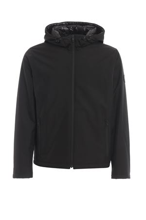 Black hooded padded windbreaker