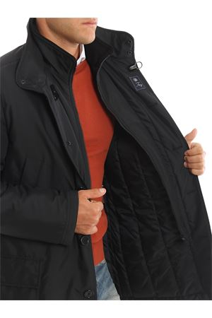 Black double front puffer jacket