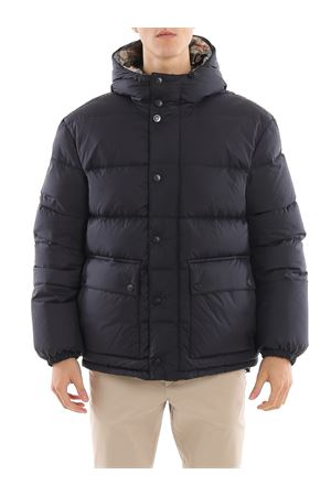 Navy and tartan reversible puffer jacket