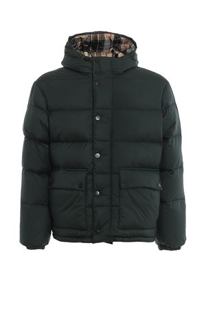 Green and tartan reversible puffer jacket