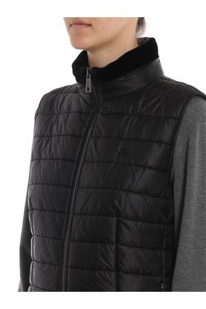 Sleeveless puffer jacket with velvet trimming
