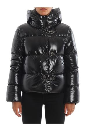 Black quilted nylon puffer jacket with hooks