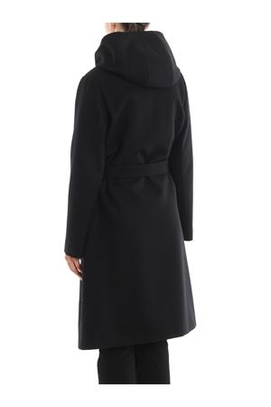 Black wool and cashmere hooded coat