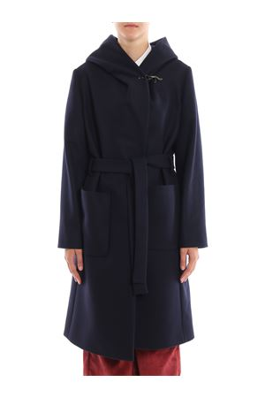 Blue wool and cashmere hooded coat