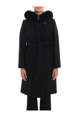 Fur trimmed hooded black coat