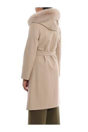 Fur trimmed hooded gown coat