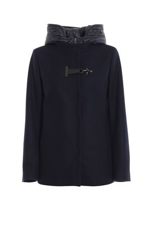 Double front hooded blue coat