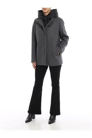 Double front hooded wool coat