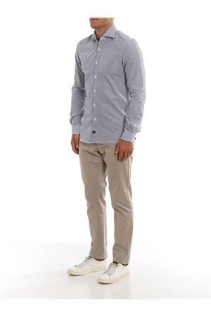 Camicia a righe bianche e blu in cotone FAY | 6 | NCMA1392590REJU807