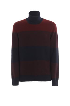 Striped wool jacquard turtleneck