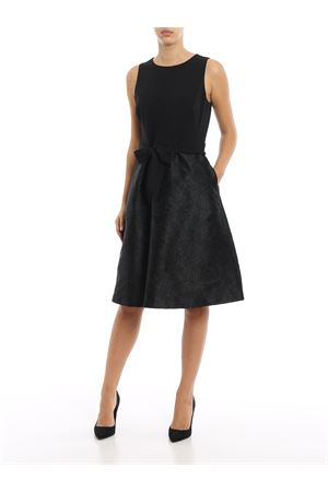 Belted black damask dress