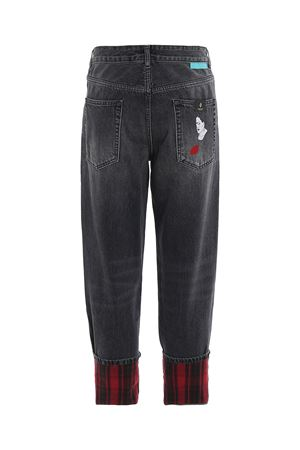 Vintage jeans with tartan turn-ups MARCELO BURLON | 24 | CMYA017E19B340981001