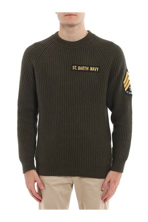 MILITARY GREEN BLENDED CASHMERE SWEATER WITH PATCH MC2 SAINT BARTH | 7 | MARINE52