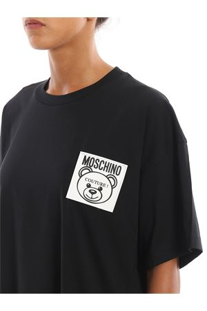 T-shirt nera con patch Teddy Label MOSCHINO | 8 | 07045440A0555