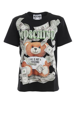 Dollar Teddy Bear print black T-shirt