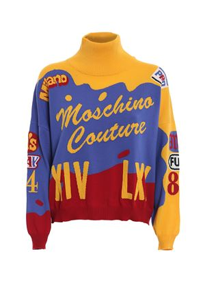 Intarsia turtleneck crop sweater