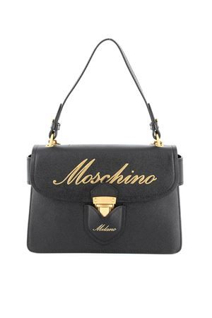 Embossed golden logo leather bag
