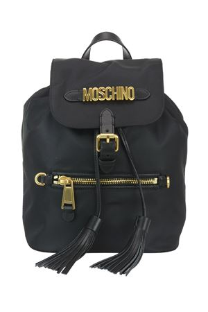 Gold-tone logo fabric backpack