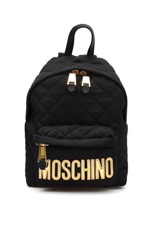 Logo lettering quilted backpack