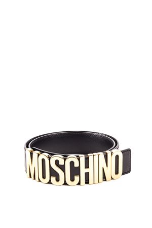 Logo lettering buckle leather belt