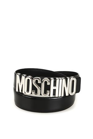 Logo lettering black patent leather belt MOSCHINO | 22 | 80128007A1555