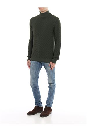 Dark green textured wool turtleneck