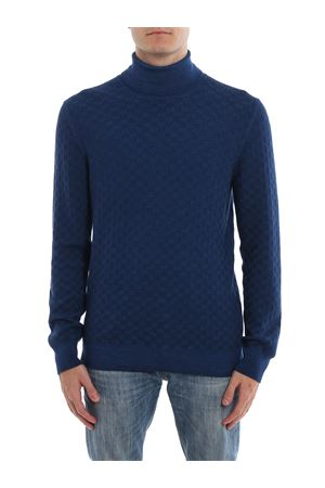 Blue textured wool turtleneck