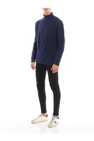 Blue cable knit merino wool sweater