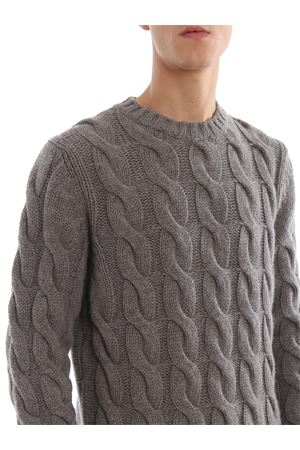 Cable knit merino wool crew neck sweater