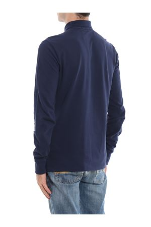 Blue navy cotton long sleeve polo shirt