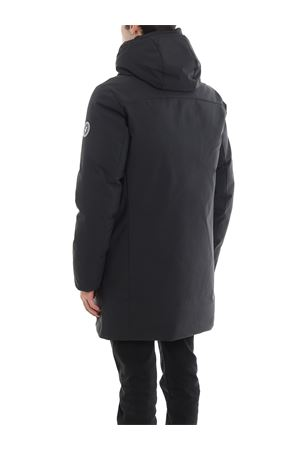 Matte tech-fabric padded hooded short coat