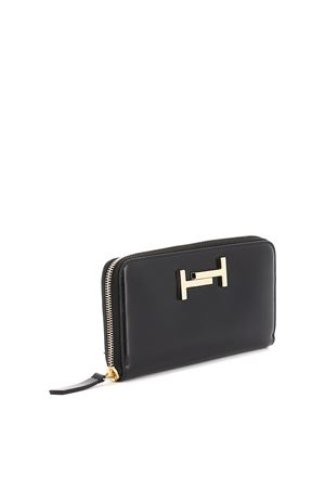 Double T black leather wallet