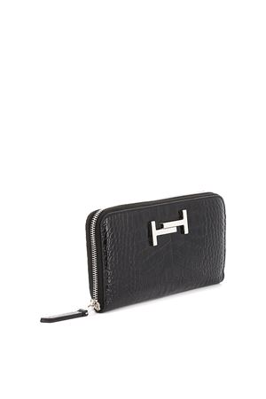 Double T croco print black leather wallet TOD
