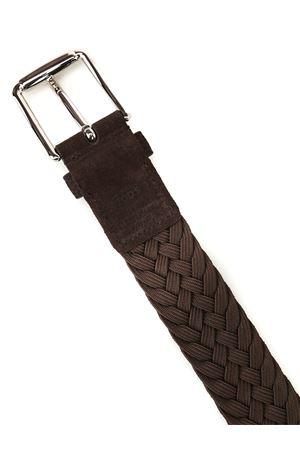 Dark brown woven suede belt TOD