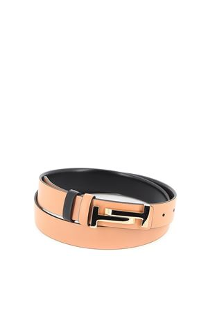 Double T leather reversible belt TOD