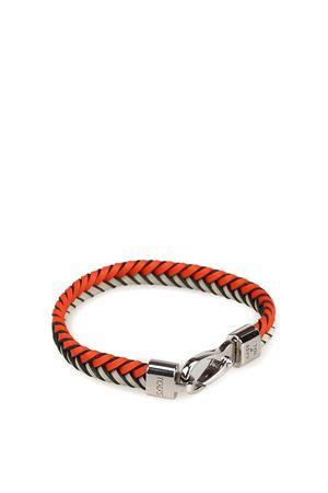 Orange and grey woven leather flat bracelet TOD