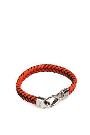 Orange woven leather flat bracelet TOD