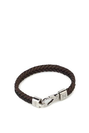 Brown woven leather flat bracelet TOD