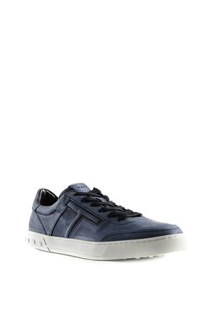 Blue denim embossed logo leather sneakers 