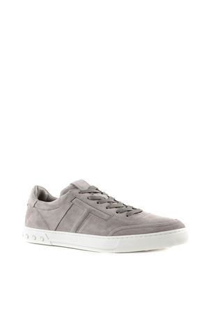 Grey embossed logo leather sneakers