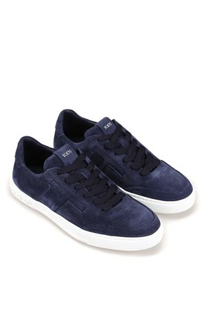 Blue suede sneakers with padded T