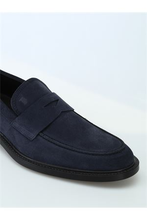Mocassini in suede blu con suola con gommini XXM45A00640RE0U805 TOD