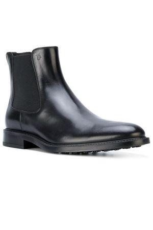 Black leather slip-on booties TOD