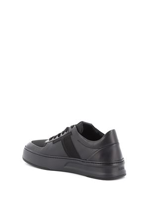 Leather and tech mesh sneakers