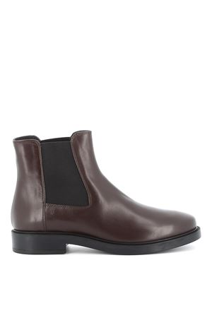 Dark brown leather pull on ankle boots TOD