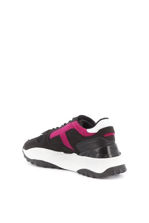 Leather and tech mesh sporty sneakers