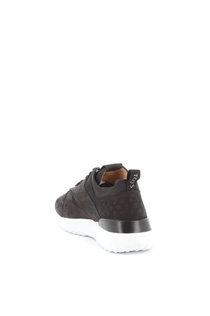 Black perforated nubuck sneakers