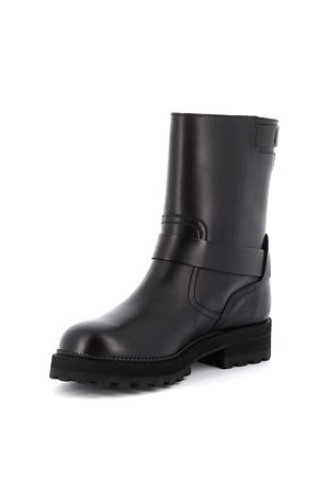 Buckle detailed leather biker boots