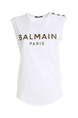 BUTTONS SLEEVELESS T-SHIRT IN WHITE BALMAIN | 8 | UF01000I5910FA